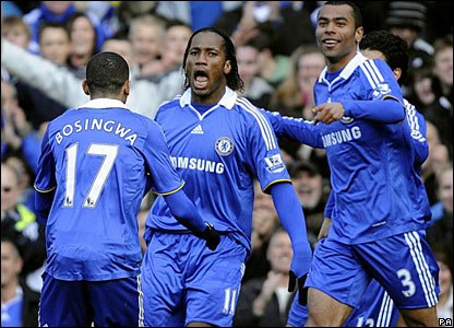 Chelsea v West Brom: Didier Drogba scores the first Boxing Day goal at Stamford Bridge, a superb header