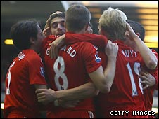 Liverpool celebrate Albert Riera's goal for Liverpool