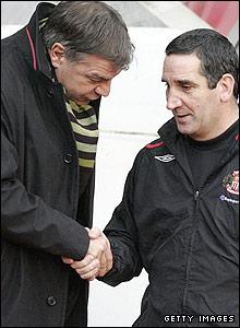 Sunderland 0-0 Blackburn: Blackburn's new boss Sam Allardyce (left) and Sunderland's caretaker boss Ricky Sbragia have to settle for a point each