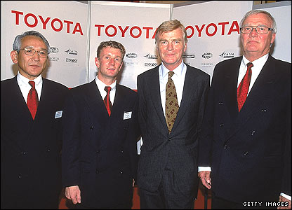 (Left to right) Director of Toyota Motor Corporation Tsumoto Tomita, Toyota driver Allan McNish, FIA president Max Mosley and late Toyota team boss Ove Andersson