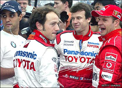 (Left to right) Juan Pablo Montoya, Cristiano da Matta, Olivier Panis and Rubens Barrichello
