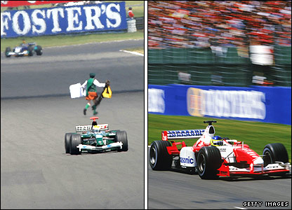 A demonstrator disrupts the 2003 British Grand Prix and Cristiano da Matta in action during the race