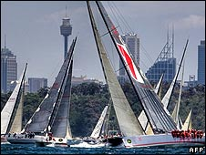 Vessels gather for the start of the Sydney to Hobart yacht race (26 December)