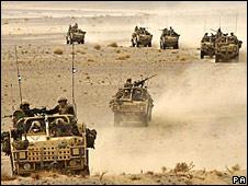 A British mobile patrol in Afghanistan