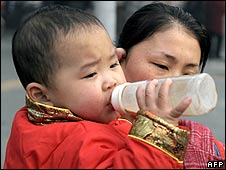 A child drinks milk in Chengdu, Sichuan province