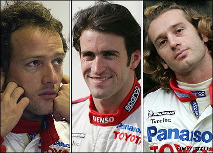 (Left to right) Cristiano da Matta, Ricardo Zonta and Jarno Trulli