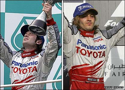 Jarno Trulli celebrates in Malaysia (left) and Bahrain