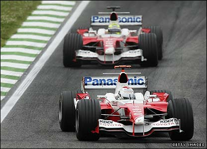 Jarno Trulli leads team-mate Ralf Schumacher in San Marino
