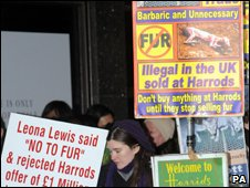 Anti-fur protest placards