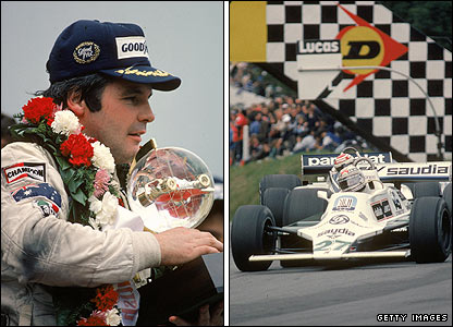 Alan Jones celebrates winning the 1980 British Grand Prix