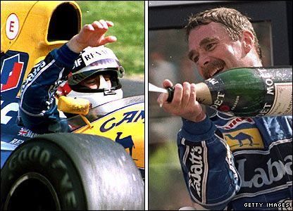 Nigel Mansell celebrates his victorious season