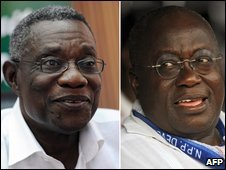 Election candidates John Attah Mills (left) and Nana Akufo-Addo (composite image)