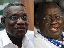 Election candidates John Atta Mills (left) and Nana Akufo-Addo (composite image)