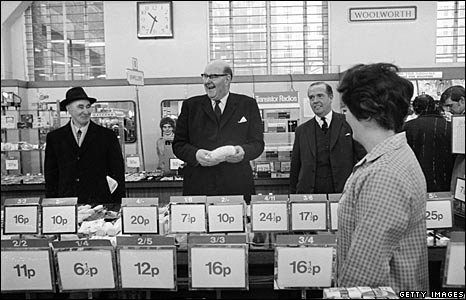 Chairman of the Decimal Currency Board Lord Fiske at Woolworths in the Strand, London, in 1971