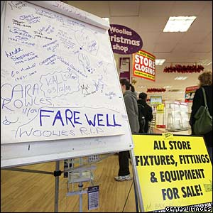 Farewell messages at Woolworths in New Malden, Surrey