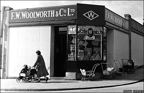 Boarded up Woolworths store in Plymouth, 1954.