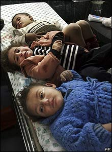 Wounded Palestinian children in hospital in Gaza City
