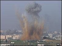Imagen del impacto de uno de los misiles