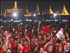 Pro-Thaksin protestors at Sanam Luang, near the royal palace in Bangkok