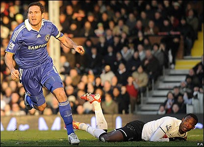 Lampard celebrates his equaliser