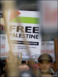 Protesters outside the Israeli Embassy in London clashed with police
