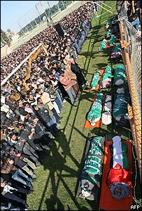 Funeral de víctimas en Rafa, sur de la Franja de Gaza.