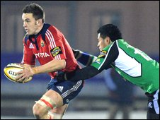 Munster's Nialll Ronan is tackled by Niva Ta'auso of Connacht