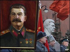 Portrait of Joseph Stalin at Communist Party celebration of his birthday - 21/12/2008