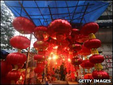 Red lanterns on sale in Chungking, China Dec 08