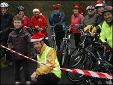 Jos Kertzman, 8, and Somer Valley Wheels manager Chris Revill cut the tape for Colliers Way near Radstock