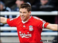Liverpool captain Steven Gerrard celebrates scoring at Newcastle
