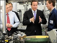 David Cameron visits a business near Oxford