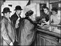 The first pensions being paid at a post-office in London. Source: Illustrated London News 9 January 1909.