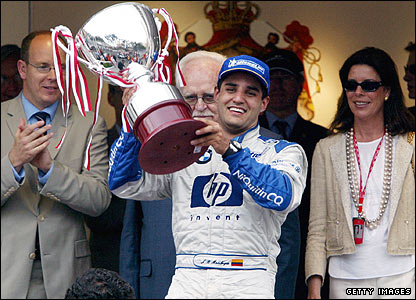 Juan Pablo Montoya celebrates his 2003 win in Monaco with the royal family