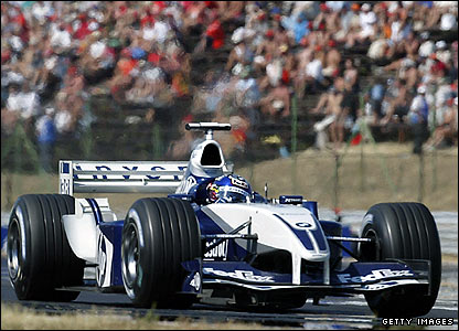 Juan Pablo Montoya in action at the Hungaroring