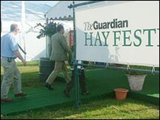 Visitors at the Hay Festival
