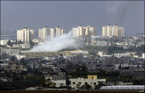 Smoke billows from inside the northern Gaza Strip during an Israeli air raid