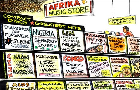 A music shop showing Africa's greatest hits by Tayo Fatunla