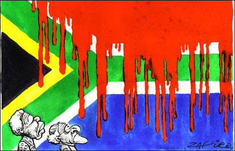 Nelson Mandela and Desmond Tutu looking up at blood dripping down on South Africa's national flag by Zapiro