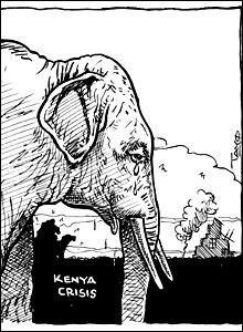 An elephant cries as he looks on at violence in Kenya by Tayo Fatunla