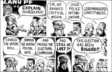 Zimbabwean President Robert Mugabe demands an explanation as to why he lost the March election by Zapiro