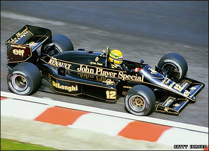 Ayrton Senna in action for Lotus during the 1986 Belgian Grand Prix