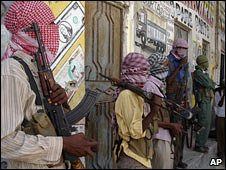Armed al-Shabab insurgents in Mogadishu