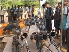 Arms allegedly captured by Tamil Tiger rebels