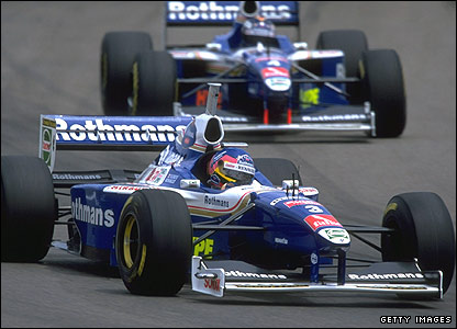 Jacques Villeneuve leads Williams team-mate Heinz-Harald Frentzen at the 1997 Spanish Grand Prix