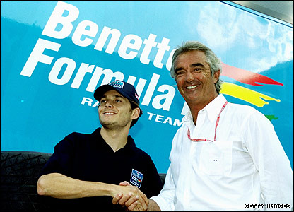 Benetton driver Giancarlo Fisichell and team boss Flavio Briatore