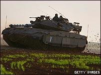 Tanque israelí cerca de la Franja de Gaza