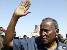 Somalia's President Abdullahi Yusuf arrives in Puntland region on 29 December 2008