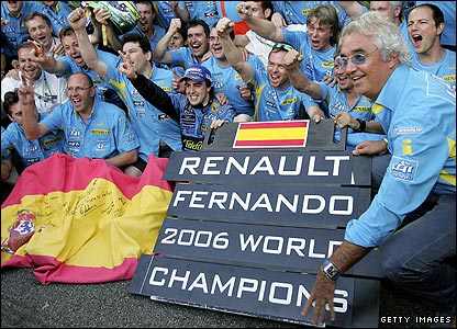 The Renault team celebrate taking both titles in 2006