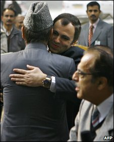 Omar Abdullah (C) is hugged by former Chief Minister of Jammu and Kashmir Ghulam Nabi Azad  after securing the nomination to become chief minister